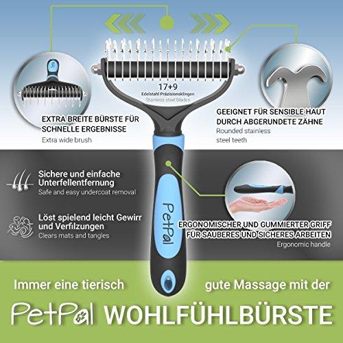 PetPäl Wohlfühl Hundebürste | Effektive Unterwollbürste | Massage Fell-Entfilzungsstriegel | Enthaarungs-Bürste | deShedding | Universal-Striegel für Mittel bis Langhaar | Schmerzfreies Ausdünnen | Effiziente Fellpflege | 2 Gratis Abstracts | 100% PetPäl-Zufriedenheitsgarantie (Blau) - 3
