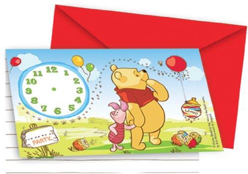 Disney Amscan International Einladungen, Motiv Winnie Puuh und Ferkel
