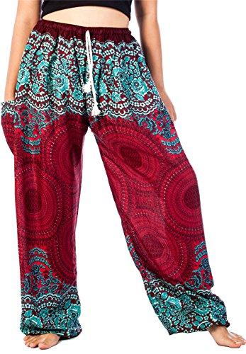 Lofbaz Mujer Cordón Rose 1 Harén Boho Genio Pantalones Borgoña L
