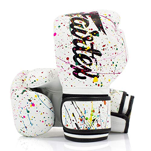 Fairtex Guantes de boxeo Muay Thai The Painter blanco y negro único...