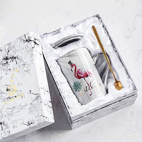 Xiaobing Taza de cerámica de Moda con patrón de mármol Dorado Taza de Oficina Creativa Taza de café -B44-301-400ml