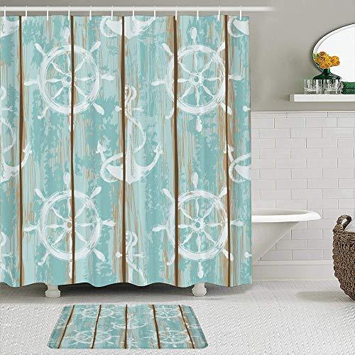 Juego de cortinas y tapetes de ducha de tela,Viejos tableros de cubierta de barco de patrones sin fisuras pintados con,cortinas de baño repelentes al agua con 12 ganchos, alfombras antideslizantes