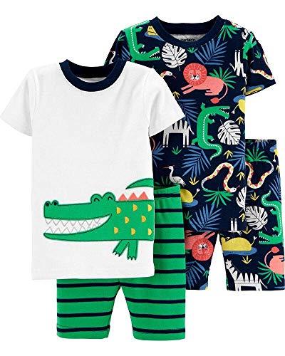 Carter's Boys' 4-Piece Snug Fit Cotton Pajama PJs (2T, Alligator)