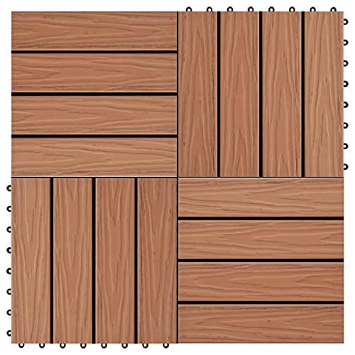 Material: Compuesto de Madera y plástico (WPC) Baldosas Porche Relieve Profundo WPC 1 m² marrón Claro 11 uds