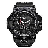 SMAELBand Männer Military Watch 50m wasserdichte Armbanduhr LED Quarzuhr Sportuhr Männliche Sportuhr Men S Shock,Black