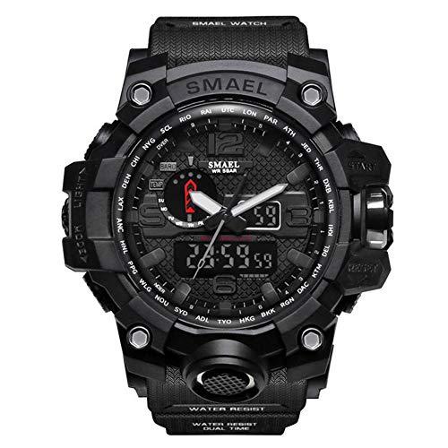 SMAELBand Hombres Reloj Militar Reloj de Pulsera Resistente al Agua 50m Reloj Deportivo de Cuarzo LED Hombre Deporte Reloj Hombres s Shock,Black