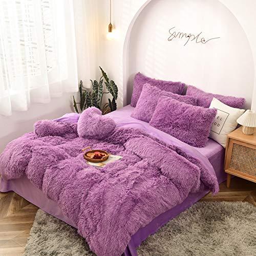 THUMBGEEK Vierteilige nordische Art, Winter Magic Velvet Bunny Velvet Vierteilige verdickte einfarbige Bettwäsche 2,0 * 2,3 m (D)