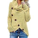 CLOOM Jerseys de Mujer Invierno Moda Talla Grande Suelta Asimétrico Cuello Alto Cardigan Suéter Blusa Botónes Pullover Irregular Abrigo de Punto Casual Manga Larga Camisa