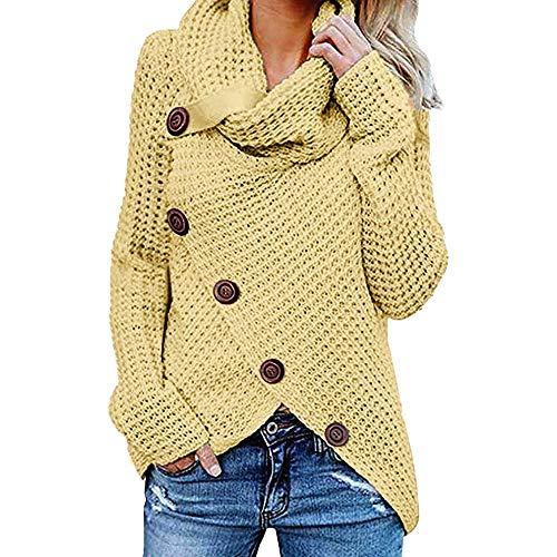iHENGH Damen Herbst Winter Übergangs Warm Bequem Slim Mantel Lässig Stilvoll Frauen Langarm Solid Sweatshirt Pullover Tops Bluse Shirt (Gelb, 5XL)