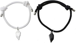 القلب المغناطيسي زوجين سوار جاذبية المتبادلة المغناطيس مطابقة أساور حبل مضفر سوار لهذه المجوهرات لها الأزواج
