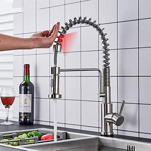 Chongyang - Grifo de cocina con sensor táctil, sin plomo, de acero inoxidable, para grifo de cocina