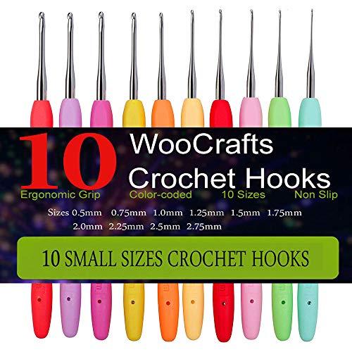 10 Small Size Steel Crochet Hook Set Thread Crochet Lace Hooks Ergonomic Handle Perfect for Arthritic Hands