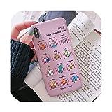 ケースIphone Xs Xr Xs Max 7 8 6S 6 Plus高級かわいい英語カレンダー電話ケースIphone X Xr XsソフトTpuシリコンカバー、iphone X、ピンクカレンダー