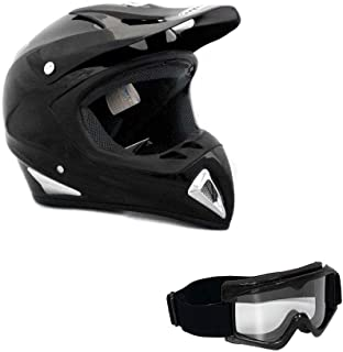 MMG Motorcycle Helmet Off Road MX ATV Dirt Bike Motocross UTV - Gloss Black (Large). Includes Goggles