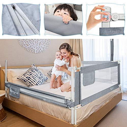 UISEBRT Kinder Bettgitter Bettschutzgitter 180cm - Höhenverstellbar Kinderbettgitter für Familienbett und Kinderbett, Rausfallschutz für Bett, Grau