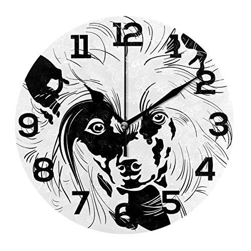 AMONKA Reloj de pared de acrílico redondo con diseño de perro con crestado chino para decoración del hogar, sala de estar, cocina, dormitorio, oficina, escuela
