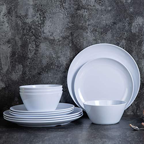Geschirr-Set aus Melamin, 12-teilig, Teller und Schüsseln, für den Innen- und Außenbereich, spülmaschinenfest, Weiß