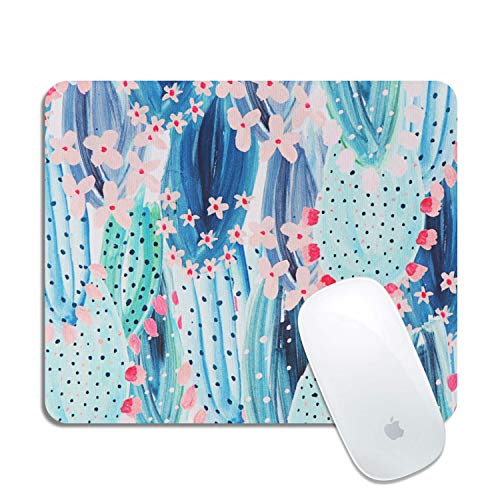 Artiron Mouse Pad, Rectangle Customized Gaming Mouse Mat Non-Slip Cute Mouse Pads with Funny Art Design for Computers Laptop, Ideal Partner for Working or Game 7.9x9.5 inch(Vintage Colorful Cactus)