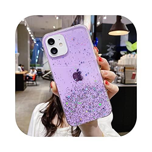 Soft Candy - Funda transparente para iPhone 11 12 Pro Max XS X XR 7 8 6 6S Plus SE 2020 mini funda protectora Twinkle Carcasas - Púrpura - Para iPhone 6S