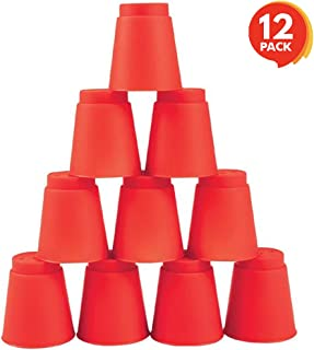 Gamie Rapid Stacking Cups - Set of 12 - 2 inch Plastic Mini Shot Cups for Quick Stack Game - Fun Indoor Party Game for Kids, Adults - Speed Cups - Develops Motor Skills, Development