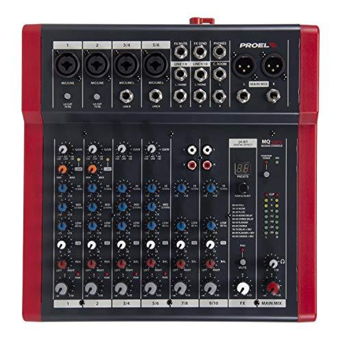 Proel MQ10FX - Mixer ultra-compatto a 10 ingressi e 2 bus di uscita + FX effetti di qualita , per Canto, Live e Karaoke, Nero Rosso (MQ10FX)