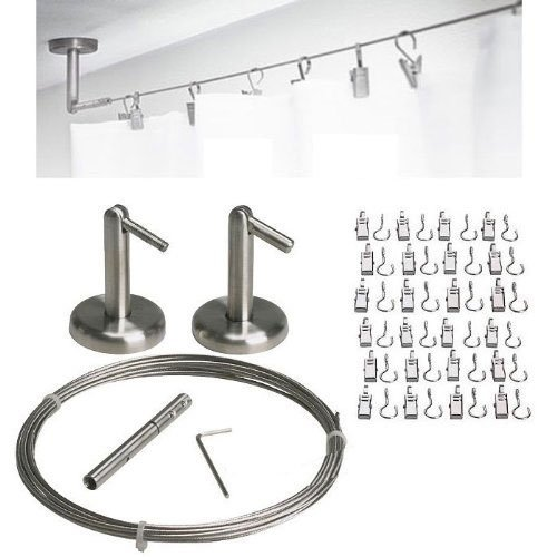 QQ-OUTLET WirePro Curtain Wire Rod Set Stainless Steel, Multi-Purpose, 16.5' Wire, 2 Mounting Pieces, 24 Clips
