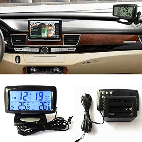 NAttnJf Auto-Uhr-Thermometer Auto-Fahrzeug LED Digital LCD Thermometer Uhr Temperatur Meter mit Hintergrundbeleuchtung Schwarz
