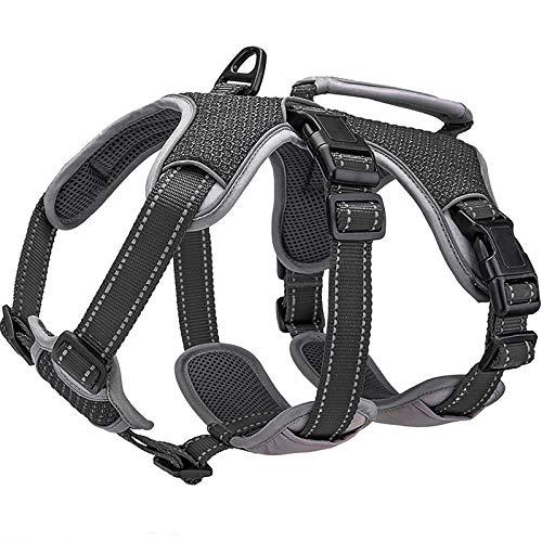 BELPRO Multi-Use Ondersteuning Hondenharnas, Escape Proof Geen Trek Reflecterend Verstelbaar Vest met Duurzaam Handvat, Hondenwandelharnas voor Grote/Actieve Honden (Zwart, M)