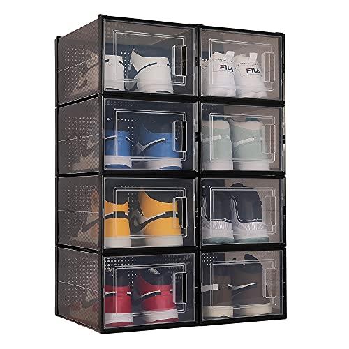 QUALIAPEX 대형 반투명 검은 신발 보관 상자 명확한 플라스틱 쌓을 수있는 운동화 서랍 스토리지 빈 구두 컨테이너 주최자 8 팩