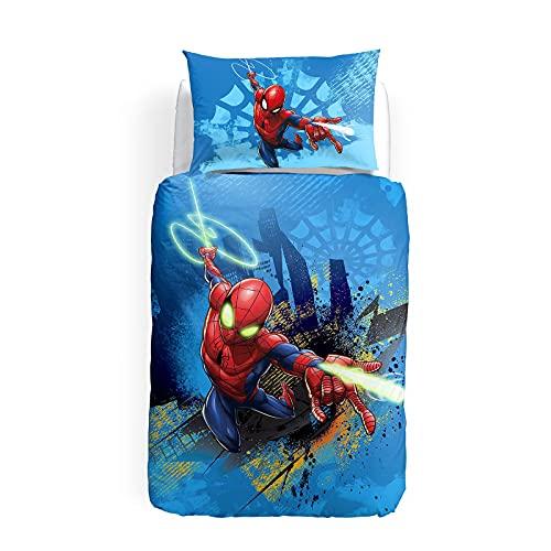 Caleffi Spiderman fluo Parure Copripiumino, Cotone , Unica, Singolo, 81483 , Marvel