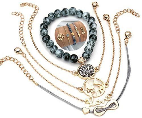 5 teiliges Armband Set | Bohemian Indi Style | Verstellbar | Gold Grau Schwarz | Modeschmuck Glitzer Herz Welt Armreif Frau Mädchen Love Infinity Unendlichkeit Liebe