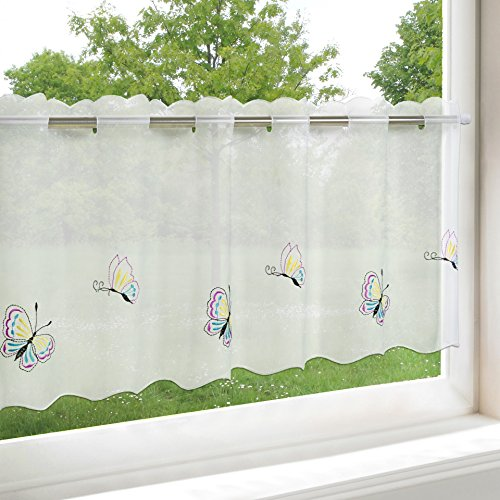 Tenda pronta da cucina, motivo farfalle, bianca, in Voile, con bellissime farfalle ricamate in toni pastello, 45 x 115 cm