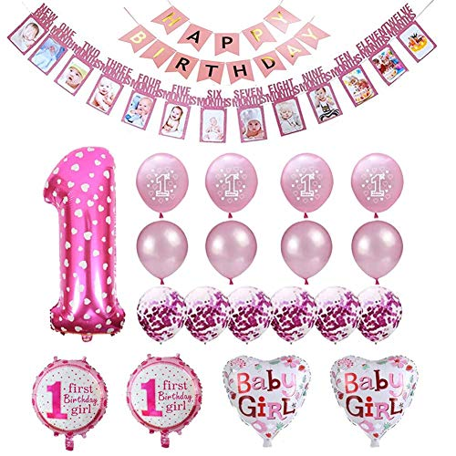 Buon Compleanno Festoni Rosa,1st Birthday Party Decorations Girl,Palloncino Happy Birthday,Striscioni di Buon Compleanno,Palloncini Compleanno 1 Anno Decorazioni,Palloncino Cuore Rosa
