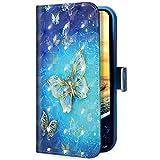 Uposao Kompatibel mit Samsung Galaxy A50 Handyhülle Handytasche Glitzer Bling Glänzend Bunt Muster Schutzhülle Flip Hülle Brieftasche Klapphülle Leder Hülle Cover,Gold Schmetterling