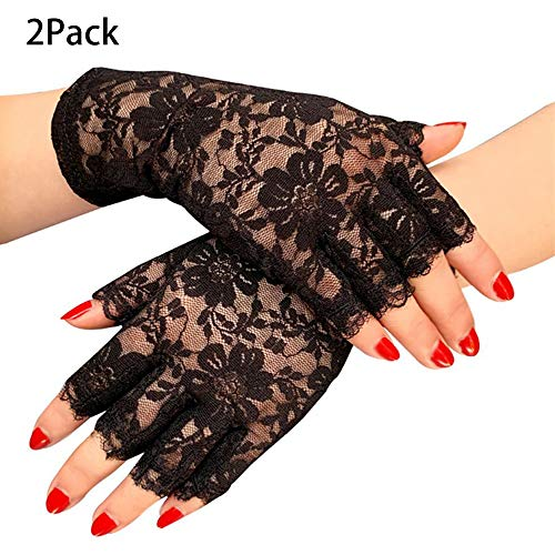 Lifreer - Guantes de encaje negro para mujer, sin dedos, guantes de Halloween, guantes negros para disfraz de gótico para mujer, accesorios de Halloween (2 pares)