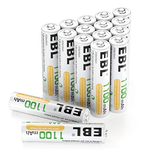 EBL Rechargeable AAA Batteries 1100mAh (16-Counts) High Capacity Ni-MH AAA Batteries
