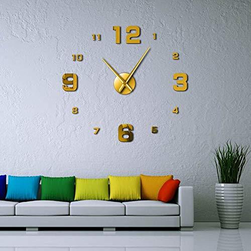 Grandes Relojes de Pared DIY sin Marco silenciar Espejo número Pegatinas Reloj de Pared Gigante Moderno no tictac para la Cocina del Dormitorio de la Sala de Estar (Oro,27 Pulgadas) Reloj de Pared d