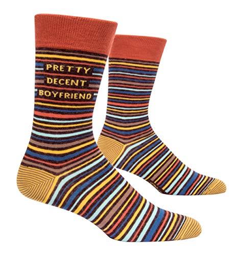 Blue Q Socks, Men's Crew, Pretty Decent Boyfriend, Orange, Medium