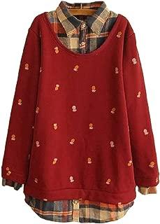 Mori Girl Cute Fashion False Two-Piece Printed Stitching Fleece Pullover Sweatshirt