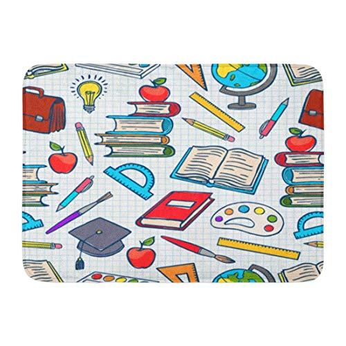 ECNM56B Fußmatten Bad Teppiche Fußmatte blau primäre Kind farbige Schulmaterial Globus Farben und Pinsel Bücher Bunte Skizze 15,8