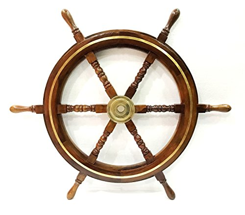 Arredamento marittimo antico in legno 76,2 cm Capitani Ship Wheel Wall Hanging Home Decor