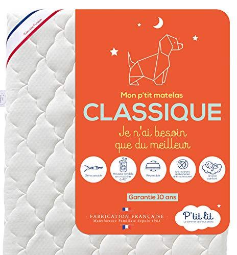 P'tit Lit - Matelas Bébé Classique - 60x120 cm - Anti Acarien - Réversible : 2 faces de couchages confortables - Déhoussable - Oeko Tex® - Fabrication Française