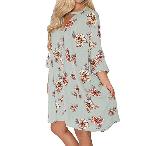 WHSHINE Damen Mode Lange Ärmel Mini Elegante Sommerkleider Bunte hübsche Gedruckt Bandage Mode Kleider Neckholder Kleid Strandkleid wadenlange Kleider