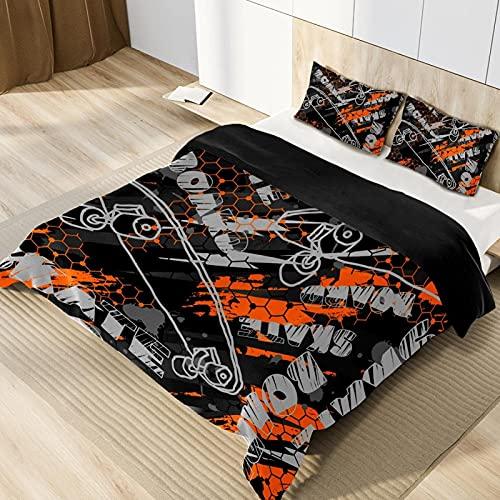 3D påslakanset sängkläder påslakan hala supermjuk enkel skötsel singel (135 x 200 cm), 2 delar set 1 del täcke + 1 styck matchande örngott