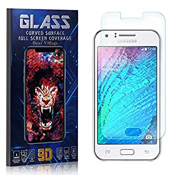Tempered Glass Screen Protector for Galaxy J1 2015 Bear Village HD Crystal Clear Screen Protector Film for Samsung Galaxy J1 2015 Bubble Free 9H Hardness 4 Pack