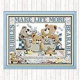 L.TSA Osos de baño de Burbujas 14ct 11ct Count Print Canvas Punto de Cruz Paquete Costura Patrones de Bordado Kits de Bordado Manualidades DIY