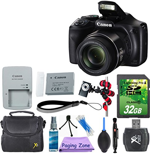 Canon PowerShot SX540 HS with 50x Optical Zoom and Built-in Wi-Fi with 32GB Memory Card + Gorillapod Flexible Tripod + Blower Dust Cleaner + Lens Cleaner + Point and Shoot Camera Case + Cleaning Kit