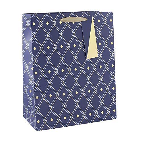 Clairefontaine 28590-2C - Una bolsa de regalo grande 26,5 x 14 x 33 cm, 210 g, Geoométrica azul