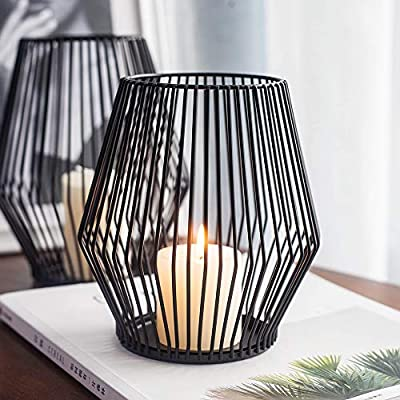 SUJUN Black Metal Wire Tea Light Candle Holders for Indoor Outdoor,Set of 2 Events,Parties and Wedding Decorations