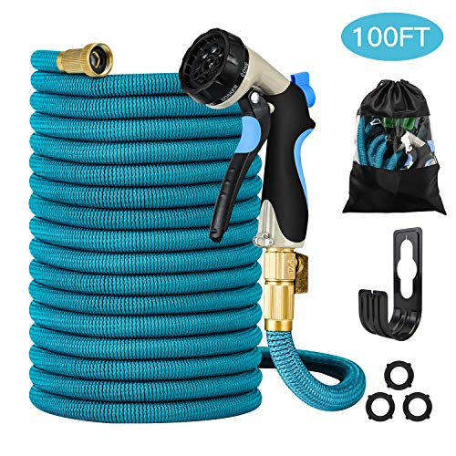 Garden Hose - Heavy-Duty, Flexible, Expandable, Retractable, Collapsible, Compact, Safe, Lightweight - No Tangle, Kink or Coil, Easy Storage - Best Waterhose for Gardening, Free Nozzle (100 FT)